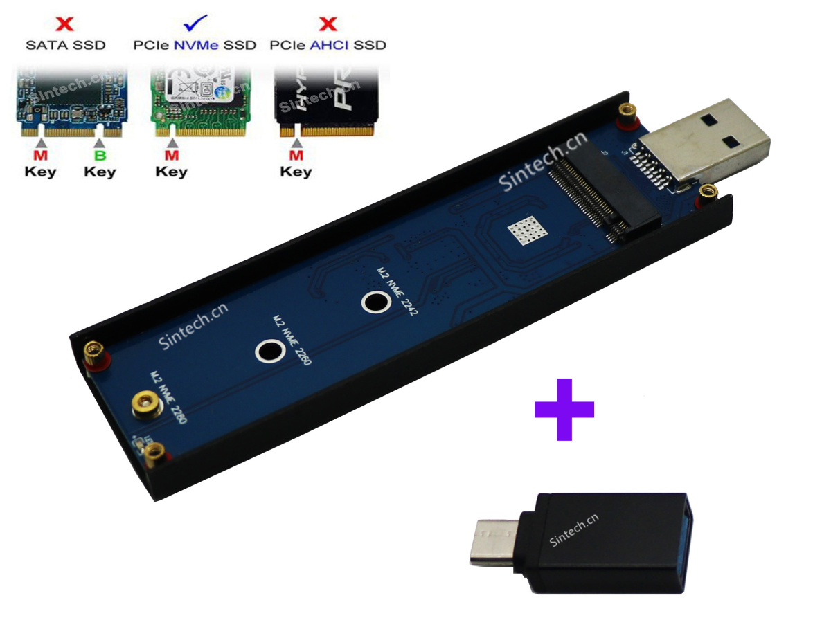 USB 3.0 3.1 Type-C M.2 nVME SSD card for Samsung 960 970 Evo